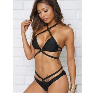 Two Piece Bikini Black Halter Swimsuit Swimwear